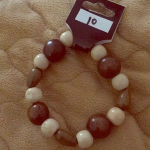Jewelry - Two brown and cream stretch bracelets